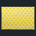 "Quatrefoil Lemon Yellow Placemat<br><div class=""desc"">Geometric quatrefoil pattern in contemporary colors.</div>"