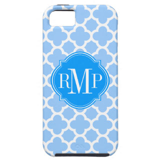 Quatrefoil Light Blue and White Pattern Monogram iPhone 5 Cover
