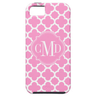 Quatrefoil Light Pink and White Pattern Monogram iPhone SE/5/5s Case