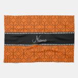 Quatrefoil marroquí anaranjado conocido personaliz toalla de cocina
