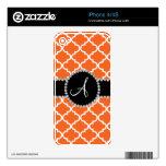 Quatrefoil marroquí anaranjado del monograma iPhone 4S skin