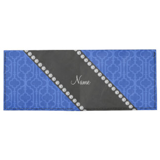 Quatrefoil marroquí azul conocido personalizado billeteras tyvek®