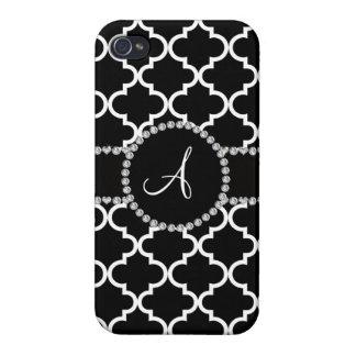 Quatrefoil marroquí negro del monograma iPhone 4 cobertura