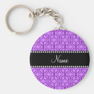Quatrefoil marroquí púrpura en colores pastel cono llavero redondo tipo pin
