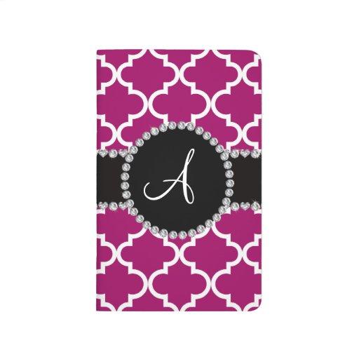 Quatrefoil marroquí rosado magenta del monograma cuaderno