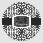 Quatrefoil modelado vintage etiqueta redonda