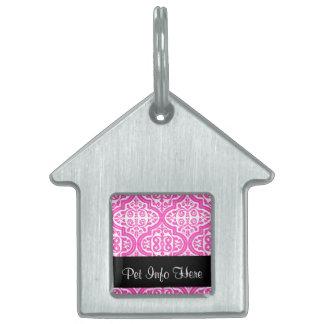 Quatrefoil modelado vintage (rosa) placas de nombre de mascota