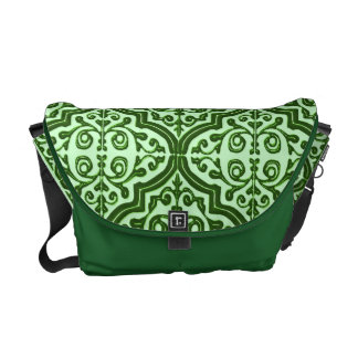 Quatrefoil modelado vintage (verde) bolsa de mensajeria
