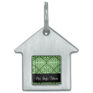 Quatrefoil modelado vintage (verde) placa de mascota