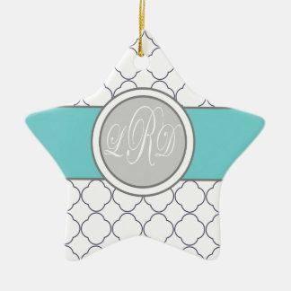 Quatrefoil Monogram Ceramic Ornament