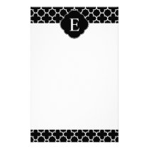 Quatrefoil Monogram Classic Black White Stationery