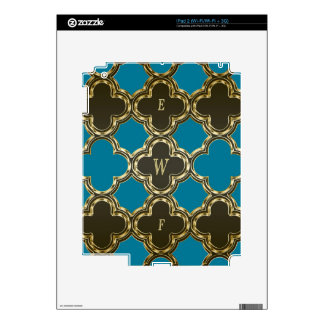 Quatrefoil Monogramed Gold Blue Design Gifts Decal For The iPad 2