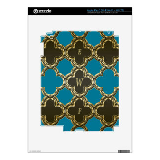 Quatrefoil Monogramed Gold Blue Design Gifts iPad 3 Decals