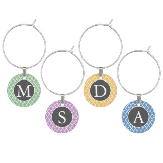Quatrefoil Monogrammed Personalized Wine Charms