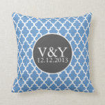 Quatrefoil Monogrammed Wedding Blue and White Pillows