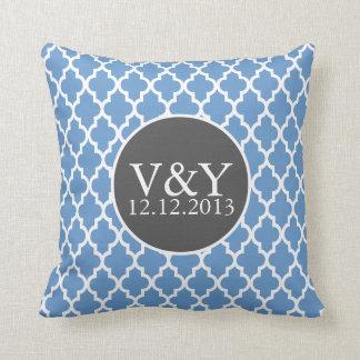 Quatrefoil Monogrammed Wedding Blue and White Pillows
