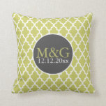 Quatrefoil Monogrammed Wedding Green and White Pillows