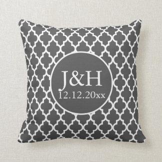Quatrefoil Monogrammed Wedding Grey and White Throw Pillow