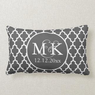 Quatrefoil Monogrammed Wedding Grey and White V2 Pillow