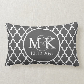 Quatrefoil Monogrammed Wedding Grey and White V2 Pillows