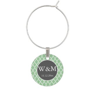 Quatrefoil Monogrammed Wedding Grey Green White Wine Charms