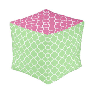 Quatrefoil Moroccan Pattern Pink And Green Cube Pouf