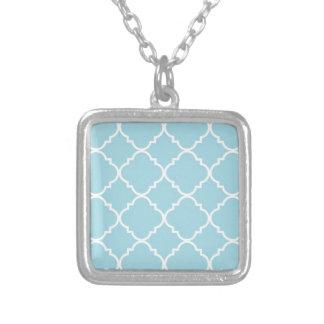 quatrefoil,morrocan,pattern,trendy,modern,blue,gir square pendant necklace