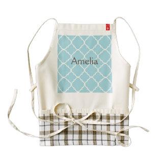 quatrefoil,morrocan,pattern,trendy,modern,blue,gir zazzle HEART apron
