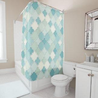 Quatrefoil Motif in Pastel Teal and Seafoam Green Shower Curtain