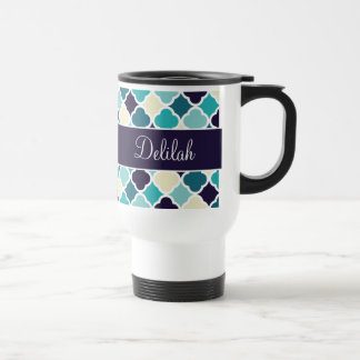 Quatrefoil Name Navy Blue Cream Travel Mug