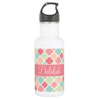 Quatrefoil Name Pastel Pink Green Stainless Steel Water Bottle