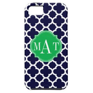 Quatrefoil Navy Blue and Kelly Green Monogram iPhone SE/5/5s Case