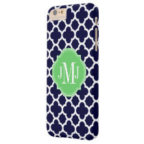 Quatrefoil Navy Blue and White Pattern Monogram Barely There iPhone 6 Plus Case