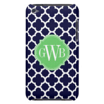 Quatrefoil Navy Blue and White Pattern Monogram Barely There iPod Case
