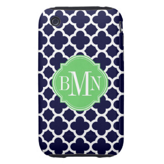 Quatrefoil Navy Blue and White Pattern Monogram iPhone 3 Tough Covers