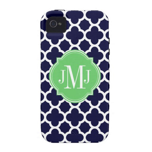 Quatrefoil Navy Blue and White Pattern Monogram Vibe iPhone 4 Cover
