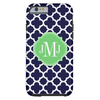 Quatrefoil Navy Blue and White Pattern Monogram iPhone 6 Case