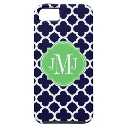 Quatrefoil Navy Blue and White Pattern Monogram iPhone 5 Cases