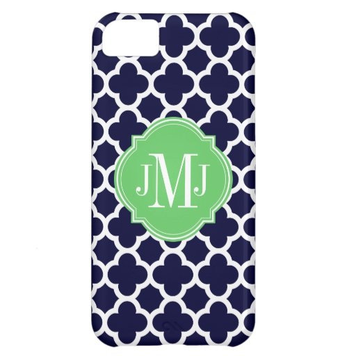 Quatrefoil Navy Blue and White Pattern Monogram Case For iPhone 5C