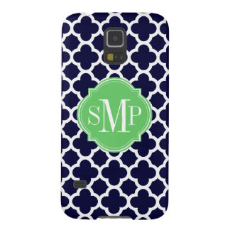 Quatrefoil Navy Blue and White Pattern Monogram Galaxy S5 Cover