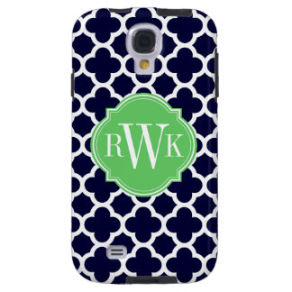 Quatrefoil Navy Blue and White Pattern Monogram Galaxy S4 Case