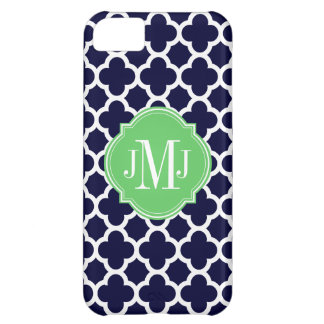Quatrefoil Navy Blue and White Pattern Monogram iPhone 5C Cover