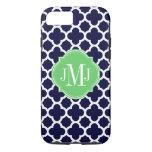 Quatrefoil Navy Blue And White Pattern Monogram Iphone 7 Case at Zazzle