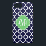 "Quatrefoil Navy Blue and White Pattern Monogram iPhone 8/7 Case<br><div class=""desc"">&#169; 2012 Socialite Designs. Our elegant quatrefoil design in dark blue and white iPhone case has a banner for your monogram,  initials or name.</div>"