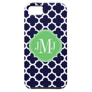 Quatrefoil Navy Blue and White Pattern Monogram iPhone SE/5/5s Case