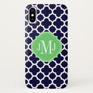 Quatrefoil Navy Blue and White Pattern Monogram iPhone X Case