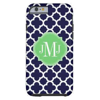 Quatrefoil Navy Blue and White Pattern Monogram Tough iPhone 6 Case