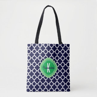 Quatrefoil Navy Blue Green Monogram Name Tote Bag