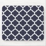 """Quatrefoil Navy Blue Mouse Pad<br><div class=""""desc"""">Geometric quatrefoil pattern in contemporary colors.</div>"""