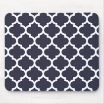 Quatrefoil Navy Blue Mouse Pad
